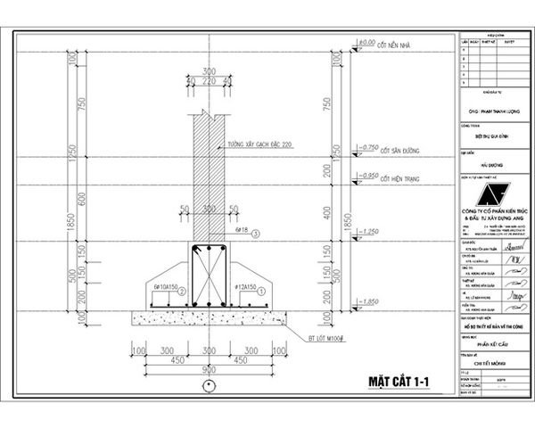Bản vẽ móng băng nhà 2 tầng - Mẫu 9
