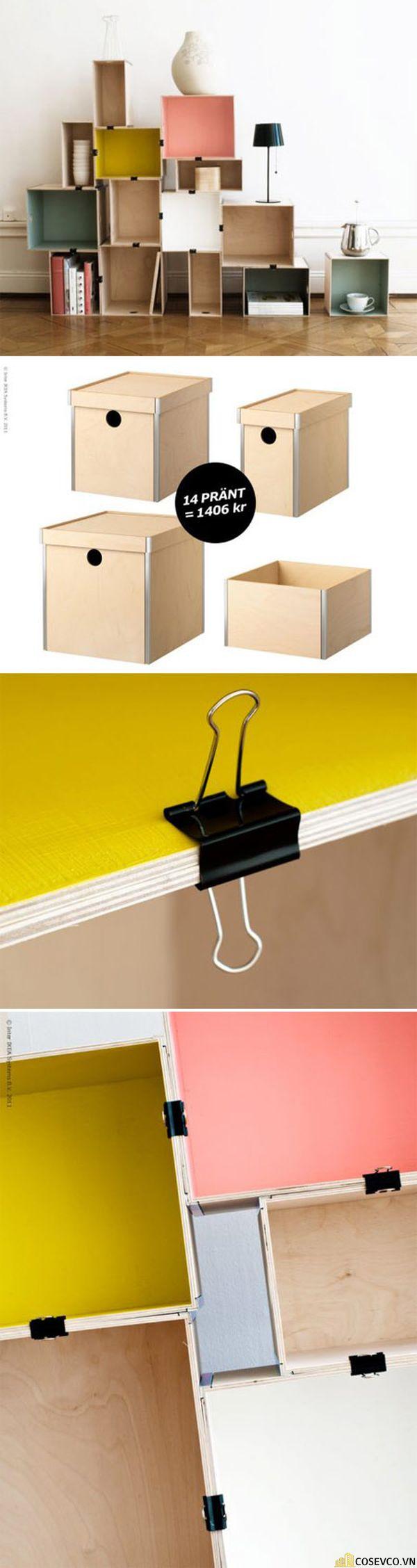 Cách làm kệ sách bằng thùng giấy