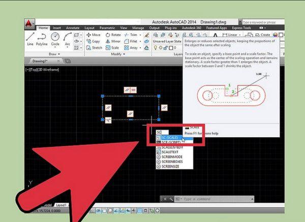 Bước 2: Chọn một điểm cố định để phóng to hoặc thu nhỏ. Từ điểm đã chọn, Autocad sẽ phóng to theo hướng còn lại, điểm đã chọn sẽ được cố định