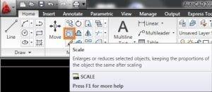 Vào menu Modifytrên thanh công cụ, chọnScale