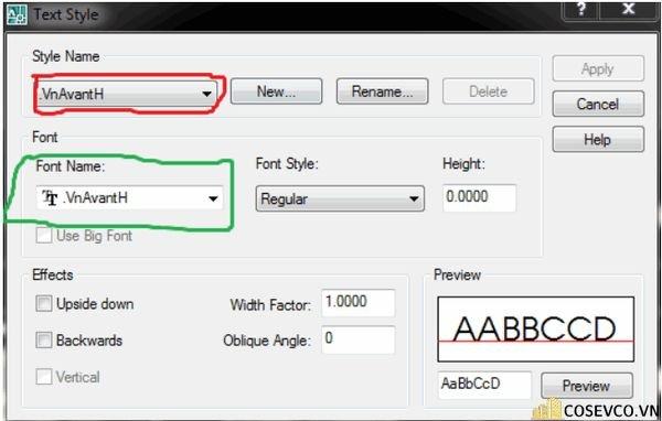 Text Style mở ra => Bạn chọn đến kiểu Stylephù hợp với chữ đang bị lỗi ở bước 2.