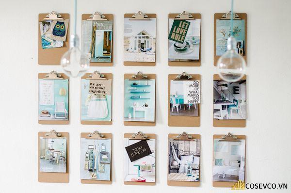 Trang trí tường phòng ngủ bằng đồ handmade từ bìa cứng