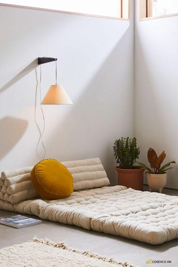 Mẫu trang trí phòng ngủ nhỏ cho nữ không giường - Cách 2