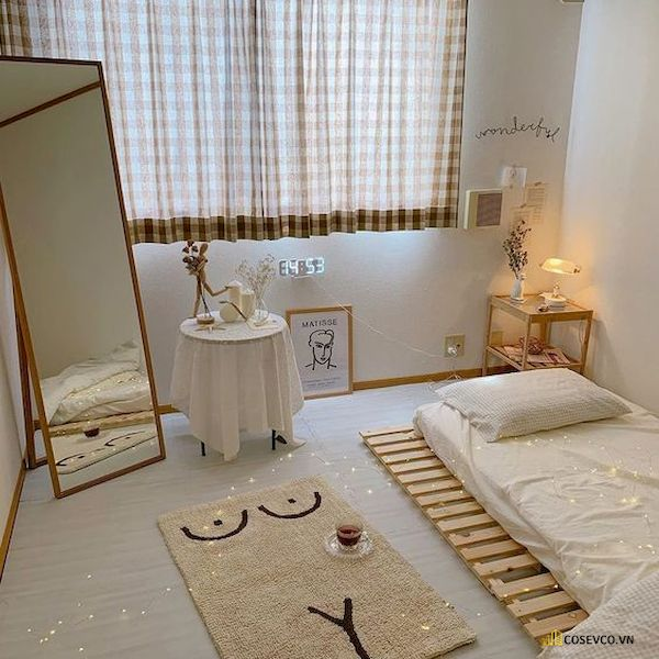 Mẫu trang trí phòng ngủ nhỏ cho nữ không giường - Cách 15