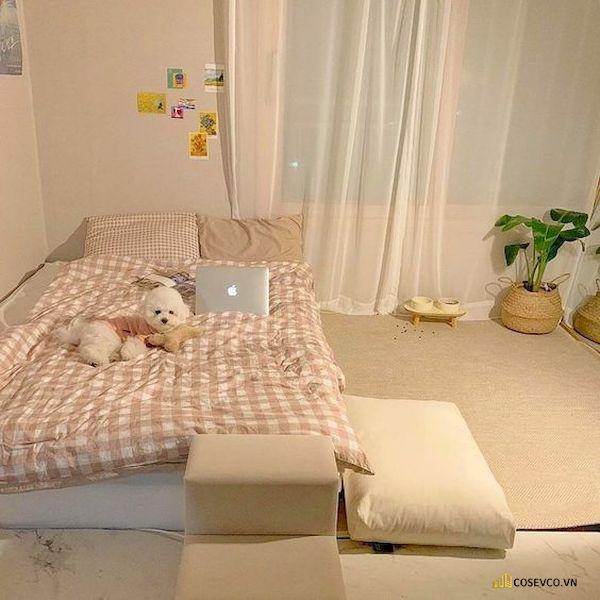 Mẫu trang trí phòng ngủ nhỏ cho nữ không giường - Cách 3