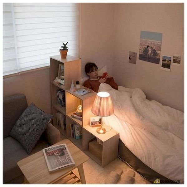 Mẫu trang trí phòng ngủ nhỏ cho nữ không giường - Cách 4