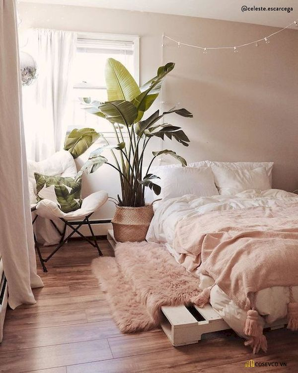 Mẫu trang trí phòng ngủ nhỏ cho nữ không giường - Cách 8