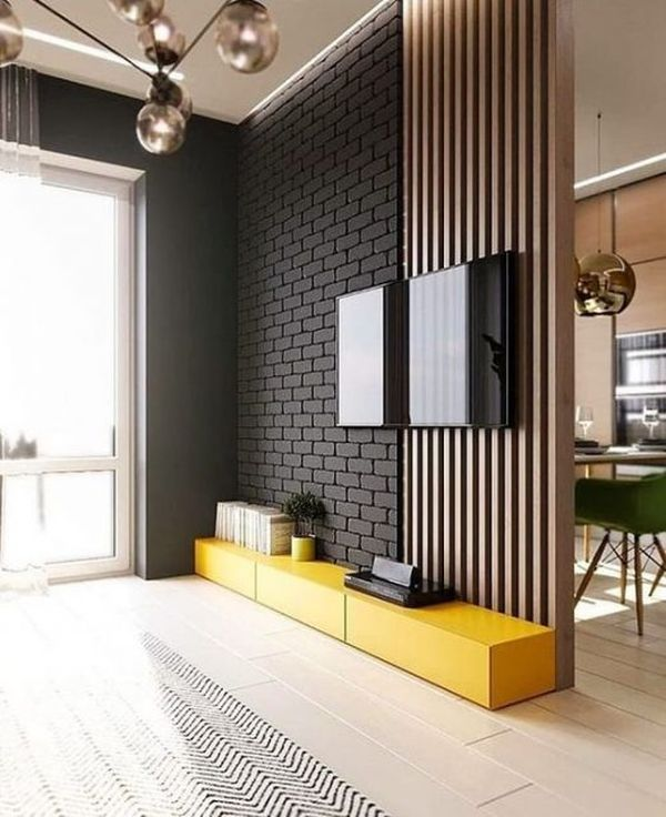 Xây vách ngăn phòng khách và bếp bằng gạch - Mẫu 1
