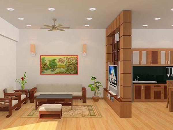 Xây vách ngăn phòng khách và bếp bằng gạch - Mẫu 4