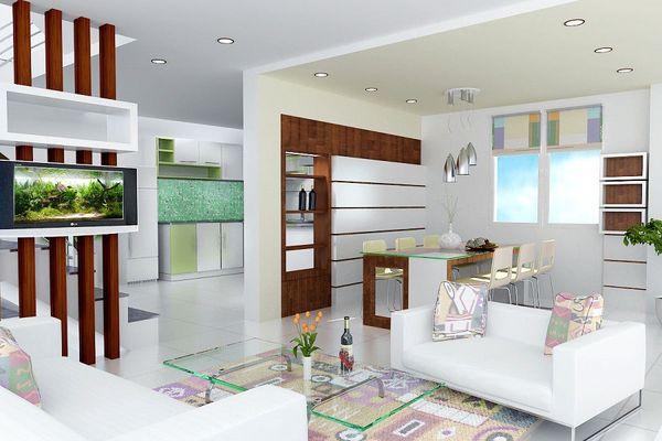 Xây vách ngăn phòng khách và bếp bằng gạch - Mẫu 5