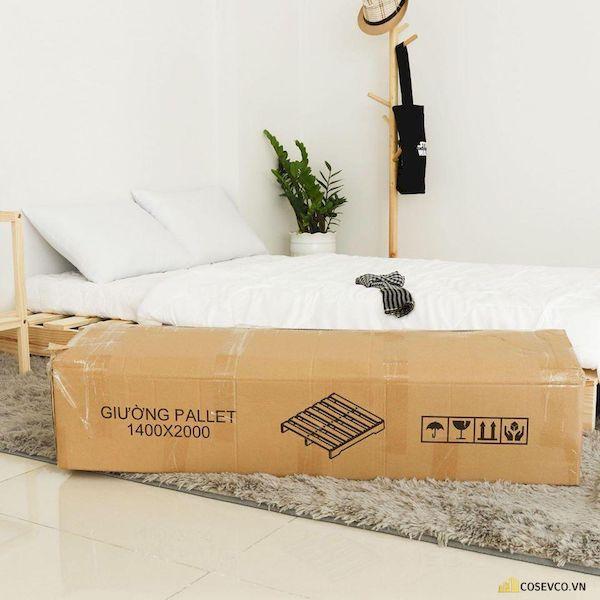 Giường Pallet thông minh được xếp gọn trong thùng Carton lắp ghép đơn giản nhanh chóng