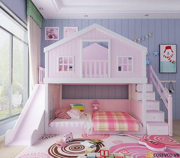 Giường tầng có cầu trượt dành cho bé gái - Hình ảnh 6