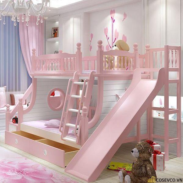 Giường tầng có cầu trượt dành cho bé gái - Hình ảnh 12