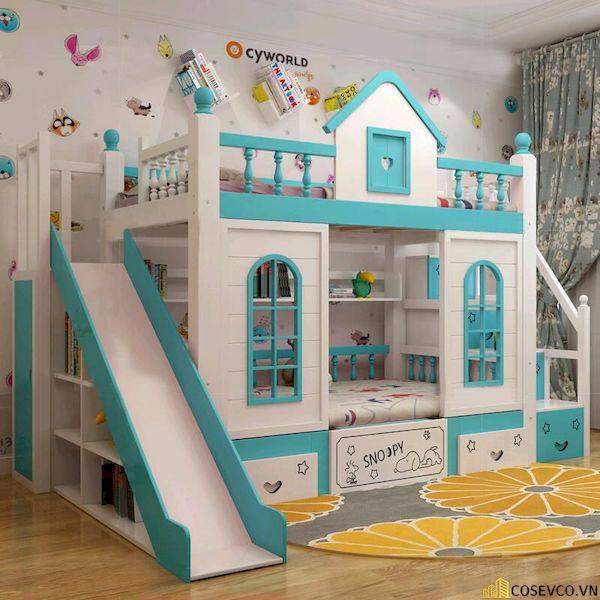 Giường tầng có cầu trượt dành cho bé trai - Hình ảnh 1