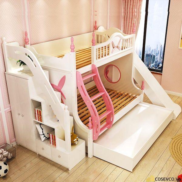 Giường tầng có cầu trượt dành cho bé gái - Hình ảnh 4