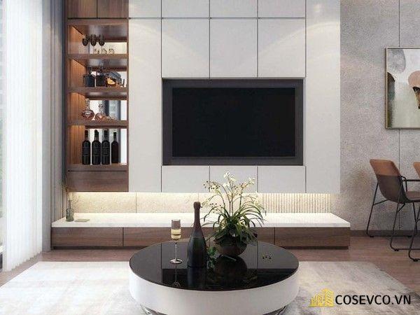 Mẫu thiết kế tủ tivi kết hợp tủ rượu hiện đại - Hình ảnh 1