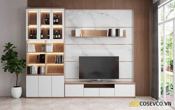 Mẫu thiết kế tủ tivi kết hợp tủ rượu hiện đại - Hình ảnh 5