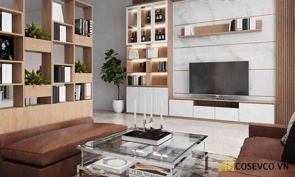 Mẫu thiết kế tủ tivi kết hợp tủ rượu hiện đại - Hình ảnh 6