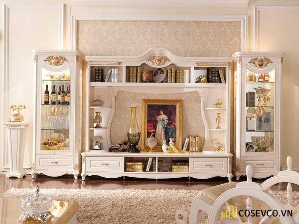 Kệ tivi kết hợp tủ rượu phong cách tân cổ điển - Hình ảnh 1