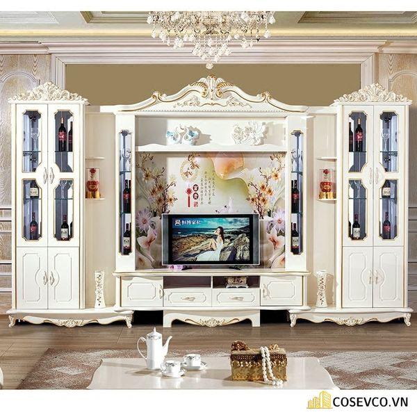Kệ tivi kết hợp tủ rượu phong cách tân cổ điển - Hình ảnh 4