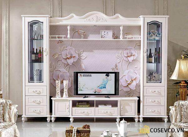 Kệ tivi kết hợp tủ rượu phong cách tân cổ điển - Hình ảnh 7