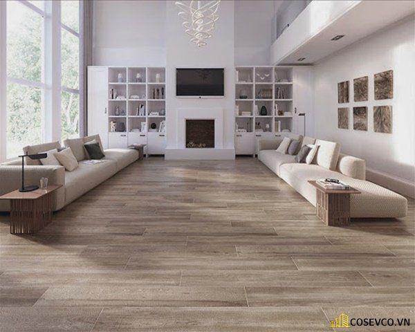 Gạch ốp nền phòng khách giả gỗ