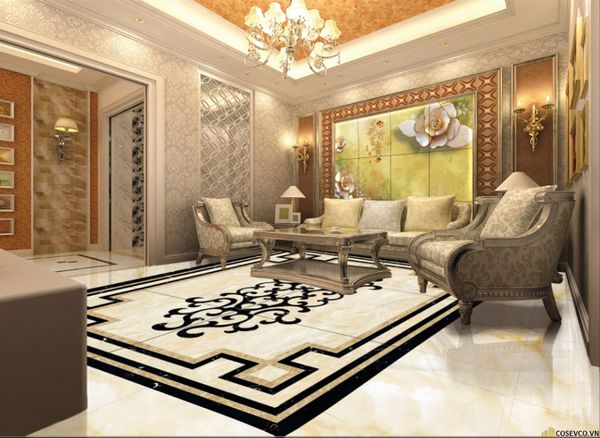 Mẫu gạch lát nền phòng khách đẹp - Hình ảnh 12