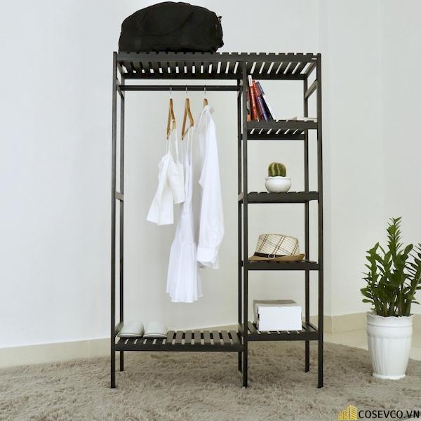 Tủ áo gỗ thông màu đen - Kích thước 97x38x150