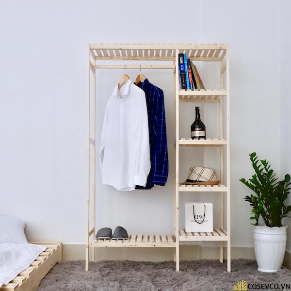Tủ áo gỗ thông màu tự nhiên - Kích thước 97x38x150