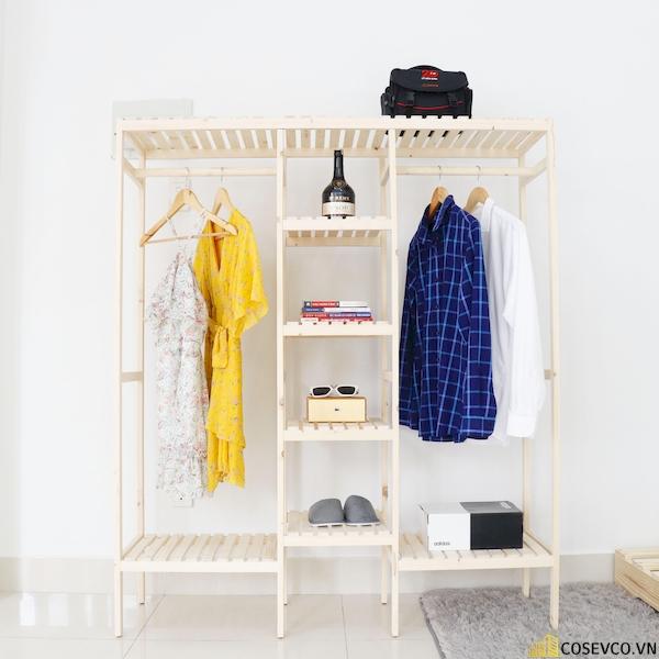 Tủ áo đôi màu tự nhiên - Kích thước 128x38x150
