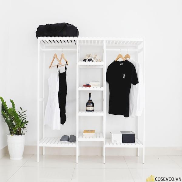 Tủ áo đôi màu trắng - Kích thước 128x38x150