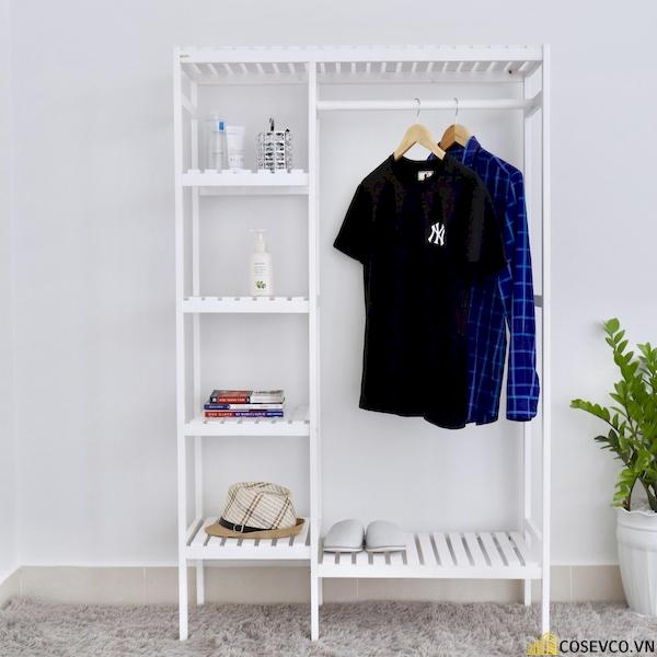 Tủ áo gỗ thông màu trắng - Kích thước 97x38x150