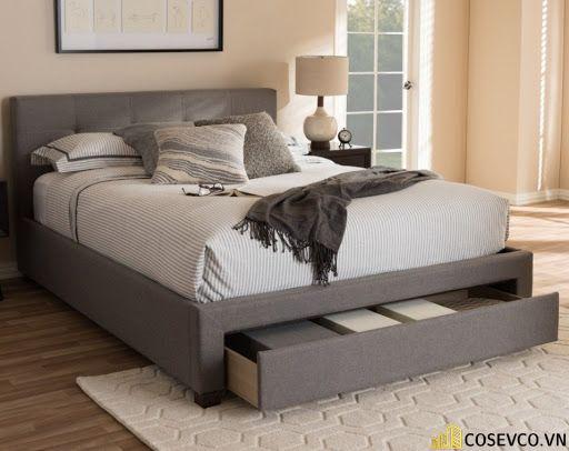 Mẫu giường thông minh bọc nỉ sang trọng - Mẫu 3