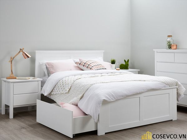 Giường ngủ gỗ công nghiệp có ngăn kéo - Mẫu 1