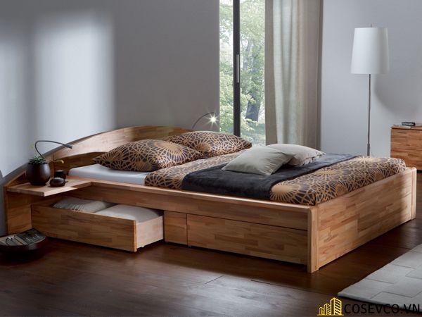 Giường hộp có ngăn kéo bằng gỗ tự nhiên - Mẫu 6