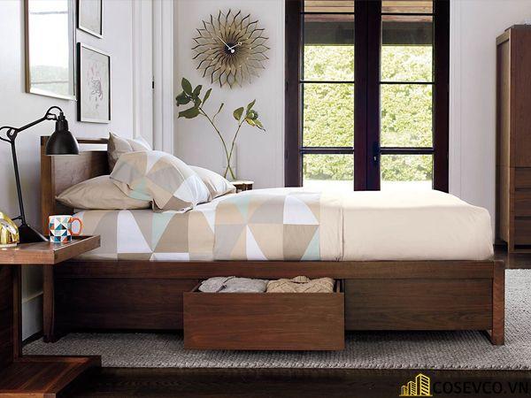 Giường hộp có ngăn kéo bằng gỗ tự nhiên - Mẫu 5