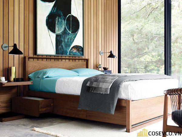 Giường hộp có ngăn kéo bằng gỗ tự nhiên - Mẫu 4