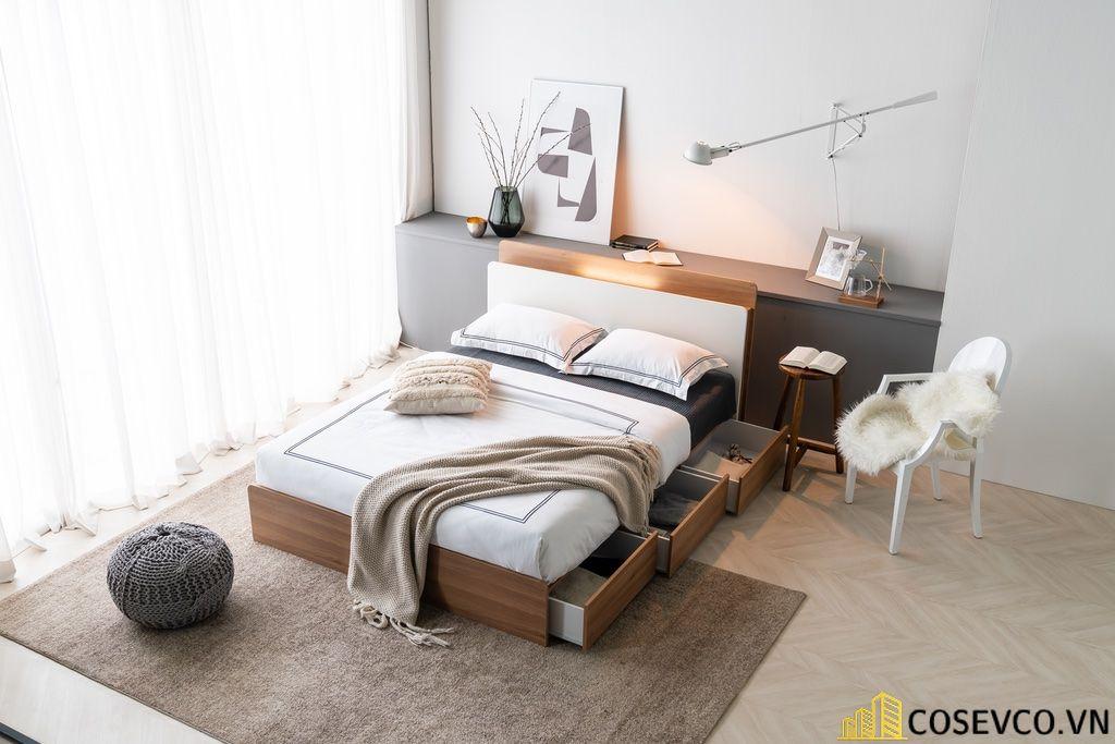 Giường hộp có ngăn kéo bằng gỗ tự nhiên - Mẫu 3
