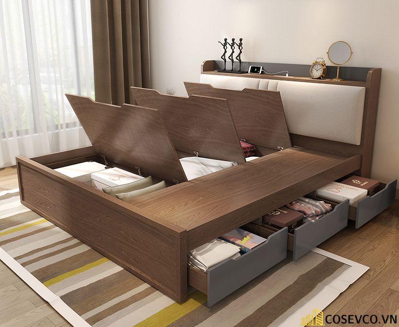 Giường hộp có ngăn kéo bằng gỗ tự nhiên - Mẫu 1