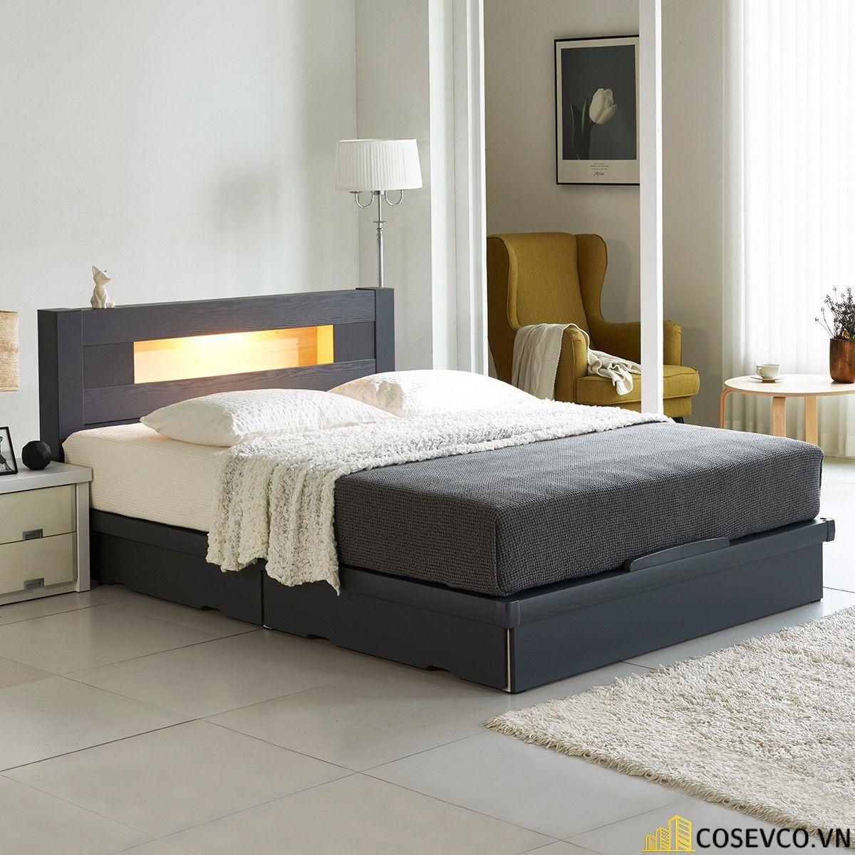 Mẫu giường thông minh bọc nỉ sang trọng - Mẫu 2