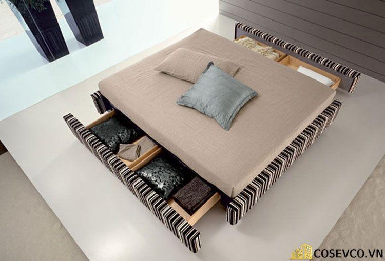 Mẫu giường kéo bọc nỉ đẹp sang trọng