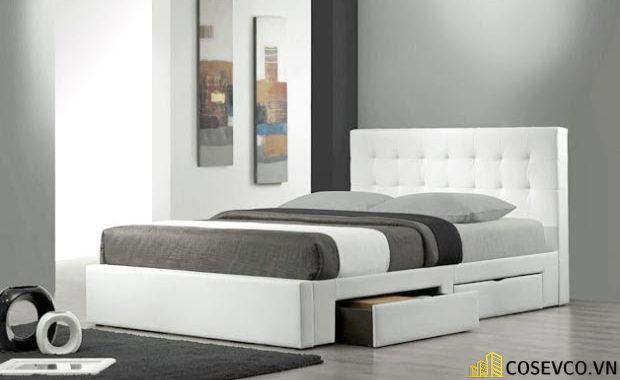 Mẫu giường thông minh bọc nỉ sang trọng - Mẫu 4