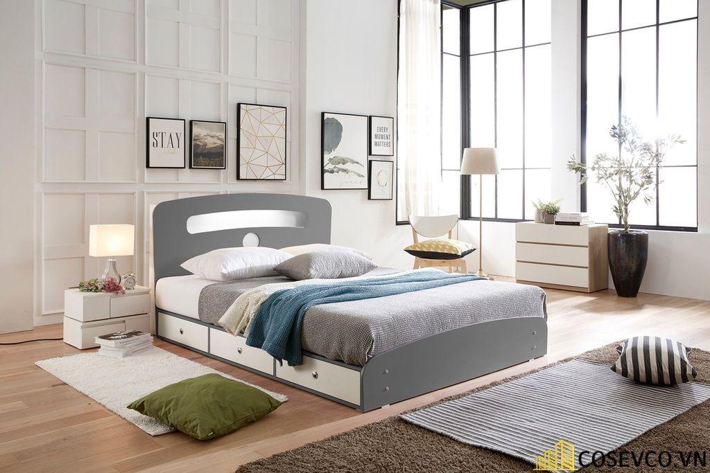Giường ngủ gỗ công nghiệp có ngăn kéo - Mẫu 2