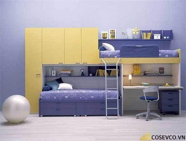 Mẫu giường tầng kèm tủ quần áo hiện đại - Mẫu 8