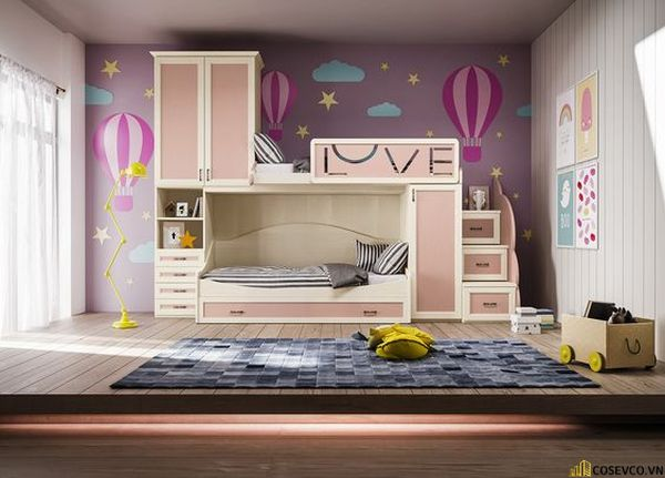 Giường tầng kết hợp tủ quần áo cho bé gái - Mẫu 4