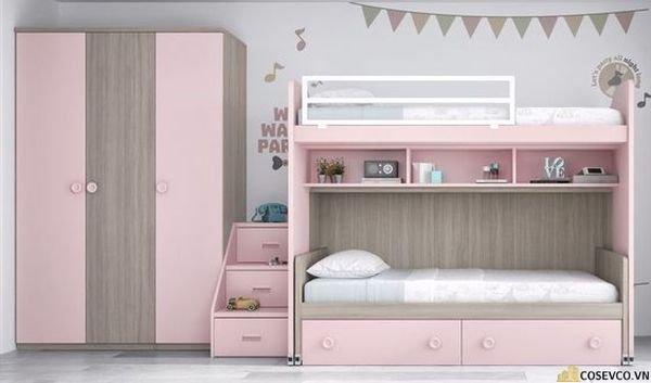 Giường tầng kết hợp tủ quần áo cho bé gái - Mẫu 5