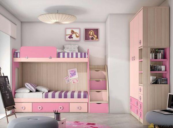 Giường tầng kết hợp tủ quần áo cho bé gái - Mẫu 6
