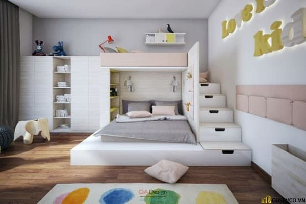 Giường tầng kết hợp tủ quần áo cho bé gái - Mẫu 7