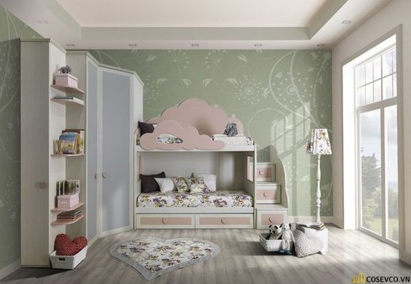 Giường tầng kết hợp tủ quần áo cho bé gái - Mẫu 8