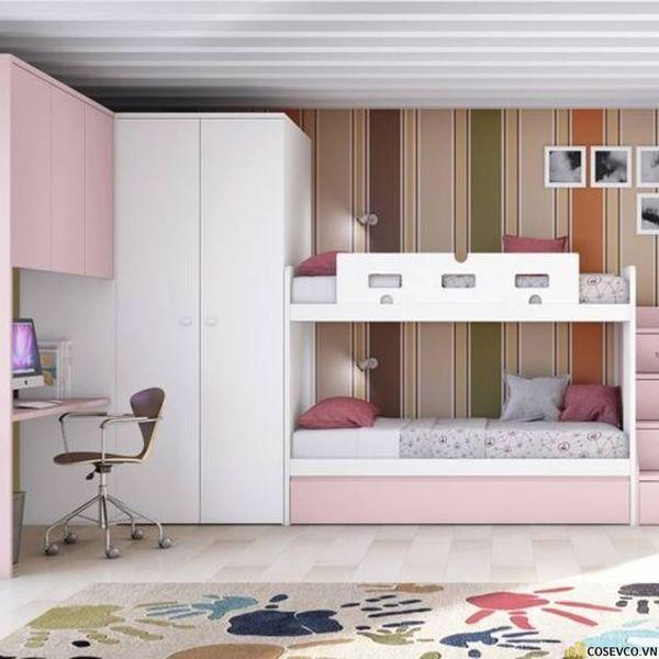 Giường tầng kết hợp tủ quần áo cho bé gái - Mẫu 9